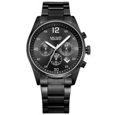 Cheap watch f, Buy Quality watch fashion directly from China watch stainless Suppliers: MEGIR Top Brand Men Watch Fashion Chronograph Military Quartz Watches Stainless Steel Business Wrist Watch Relogio Masculino Army Watches, Sport Watches, Cool Watches, Wrist Watches, Best Ladies Watches, Luxury Watches For Men, Black Stainless Steel, Stainless Steel Watch, Affordable Watches