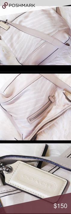 """RARE! COACH Zebra Print Cream Handbag 100% Authentic - Large Coach zebra print cross-body bag - FEATURES: zebra print canvas fabric with leather trim, inside zip pocket, 2 cell/multifunctional slip pockets, zip top Closure, fabric lining, double strap converts in single shoulder/cross body strap 9 3/4""""L x 13""""H x 5 1/2""""W Bag is in like new coarse condition with NO visible damage or signs of wear. Coach Bags Crossbody Bags"""