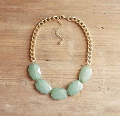 Aqua Mint Single Strand Statement Necklace on Chunky Gold Chain on Etsy, $35.00