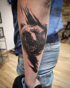 Amazing bear done by our sponsored artist at a guest spot in the stu. Tattoo Clothing, Trash Polka, Realism Tattoo, Black And Grey Tattoos, Life Tattoos, Blackwork, Tattoo Artists, Barnsley, Screen Printing