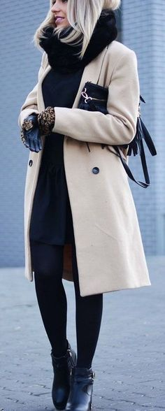 Winter outfit style. Long coat, scarf and boots