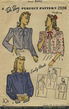 Vintage Sewing Pattern | Bed Jacket | Du Barry 2709B | Year 1941 | Size Medium | Bust 34-36 | Waist n/a | Hip n/a