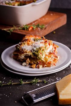 All you need to know about this vegetarian lasagna with basil pesto and ricotta is that it's drop-dead-delicious and you should make it tonight! Vegetarian Lasagne, Veggie Lasagna, Vegetarian Recipes, Healthy Recipes, Pesto Lasagna, Lasagna Soup, Pasta Recipes, Cooking Recipes, Uk Recipes