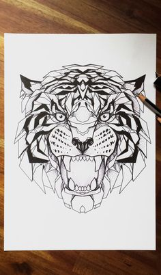 All works on this page are drawings and tattoos completed by myself. Geometric Tiger, Geometric Tattoo Pattern, Geometric Sleeve Tattoo, Geometric Tattoos, Tiger Drawing, Tiger Art, Line Tattoos, Sleeve Tattoos, Tiger Tattoo
