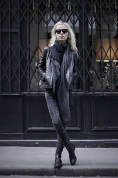 ★ Rock 'n' Roll Style / The Kooples Black Leather Perfecto, H Jeans, Silk Scarf From Zadig & Voltaire, American Retro Leather Croco Boots ... Margaux Lonnberg