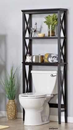Bathroom Space Saver Over Toilet Shelves Storage Cabinet Rack Towels Furniture #BathroomSpaceSaver