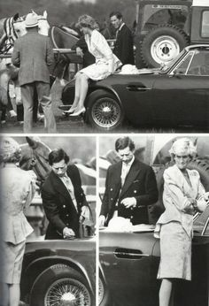 1987-06-16 At a polo match at Smith's Lawn in Windsor, Charles is not impressed as Diana sits on his Aston Martin and inspects potential damage after he asks her to get off the car's bonnet