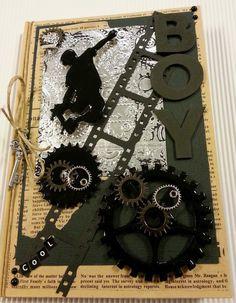 Kreativ Glede - Scrapglede: Notatbok str. 10x15 cm med Melt Art og chipboard