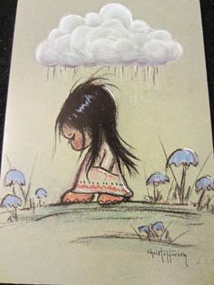 Christoffersen Sad Big Eyed Indian Girl Child Cloud by kookykitsch, $5.00