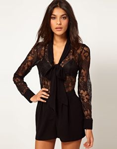 Enlarge ASOS Pussybow Playsuit in Lace