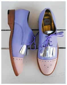 ABO + Ana Ljubinkovic shoes with fringes #abo #shoes #brogues #oxfords #pastels #pale pink #violet #silver #abo+analjubinkovic
