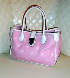 **RARE** Dooney & Bourke Signature Canvas Pink and White Leather Double Handle Tote GVC+. Starting at $1