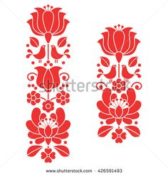 Kalocsai Red Embroidery - Hungarian Floral Folk Art Long Patterns Stock Vector - Illustration of hungary, folklore: 71916281 Hungarian Embroidery, Folk Embroidery, Brazilian Embroidery, Learn Embroidery, Embroidery For Beginners, Vintage Embroidery, Embroidery Techniques, Floral Embroidery, Embroidery Online