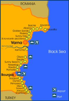 Harta litoral Bulgaria | Harta statiuni Bulgaria | Harti statiuni Bulgaria | Bulgaria maps Sunny Beach, Black Sea, Bulgaria, Romania, Sunny Days, Google Search, Littoral Zone