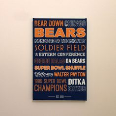 Chicago Bears Art - Canvas or Poster art man cave home decor #chicago etsy #etsy typography graphic design
