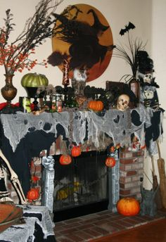 birthday mantle decorations + Pinterest | Halloween fireplace decorations…