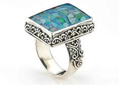 Samuel B Collection micro mosaic opal ring visit us at JCK Booth 925 Silver, Silver Jewelry, Sterling Silver, Silver Work, Opal Rings, Jewelry Trends, Turquoise Bracelet, Minerals, Cuff Bracelets