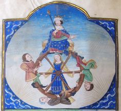 The mighty king is still on top. But the unrelenting Fortune will turn her Wheel soon! UtrechtUB1335. Bruges,  1470