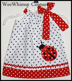 This listing is for the super cute lady bug applique dress. The dress is a pillowcase style with a side bow and was made with a white and black polka dot fabric and paired with a red and white polka dot the perfect classic lady bug combo :) This dress would be perfect for a ladybug themed birthda...