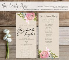 Printable Wedding Program  the Rory Collection by HowLovelyPaper