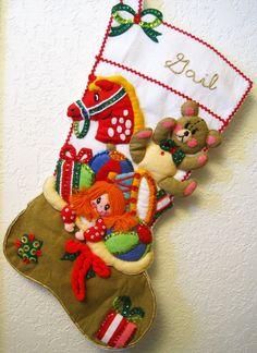 Vintage Felt Appliqué Christmas Stocking  by fromThePeddlersCart