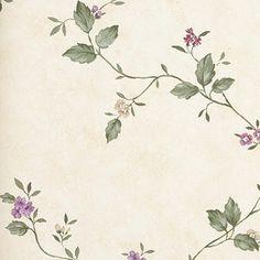 Doyle. Papel de estilo floral en tonos pastel para ambientes romántico sobre superficie lisa #decoracion #papelpintado #flores