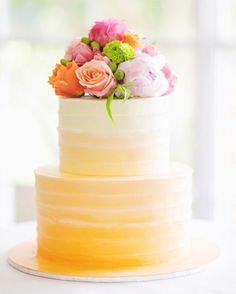 wedding yellow pink green cake