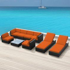 Luxxella Outdoor Patio Wicker BELLA 9 Pc Orange Sofa Sectional Furniture  All Weather Wicker Couch Set