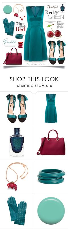 """""""Red and Green"""" by magnolialily-prints ❤ liked on Polyvore featuring Christian Louboutin, Alberta Ferretti, Michael Kors, Marni, ZENZii, Tory Burch, Jin Soon and Brewster Home Fashions"""