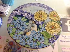 Damariscotta Pottery cake stand painted by Tessa. Tufted titmouse featured.