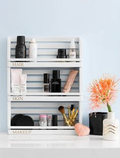 Inspired Target Hacks That'll Make You Say IKEA Who?Domino shows you how to take a stacked spice shelf and make it an bathroom organizer for your makeup and products that's pretty enough to live on the counter in plain sight.