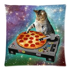Custom Funny Creative Hipster Dj Cat Galaxy Pizza Cat Zippered Pillowcase 18X18