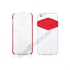 HOCO HOC Mixed Series Flip Genuine Leather Case For iPhone 5 - White Red US$26.85