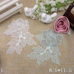 10pcs 8.5cm*11.5cm white/lake blue lace applique patches for clothes dress skirt TL0271 free ship