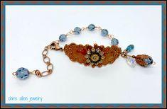 Adjustable Gingerbread cuff bracelet with Denim Blue Swarovski crystals. Leaf Necklace, Necklace Set, Filigree Ring, Gold Flowers, Bead Caps, Fashion Bracelets, Gold Chains, Blue Denim, Gingerbread