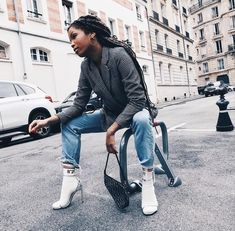 One part dressed down, one part dressed up = @slipintostyle. Get her socks and party heels combination on Farfetch now.