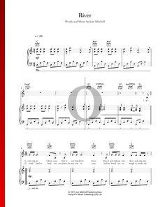 River by Joni Mitchell - Piano Sheet Music More Christmas Songs on www.oktav.com Christmas Sheet Music, Piano Sheet Music, Special Occasion, Healing, River, Songs, Traditional, Funny, Holiday