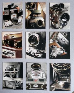 These are the 9 pieces I created for my Ap Studio Art portfolio. They are all watercolor paintings done of macro shots of vintage cameras. I will post each of them individually when I have more tim. Drawing Projects, Art Projects, Drawing Ideas, Ap Art Concentration, Ap Drawing, Art Assignments, Observational Drawing, Ap Studio Art, Art Brut