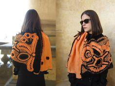 Orange and Black Freeform Crochet Shawl Woman Flower by MARTINELI
