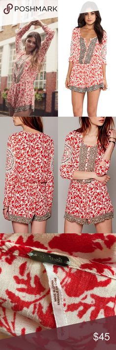 Free People Resort Gardenia Romper - Small • Beautiful one-piece jumper featuring soft gauzy fabric & long sleeves.  • Floral printed detailing throughout with geometric accents.  • Self-tie drawstring closure at waist for style adjustments.  • Blended red & dark tan (almost grey) tones.  • Scoop neckline with 6 buttons at bust.  • Shapeless, unlined & loose-fitting.  • Buttoned sleeve cuffs.   Excellent preowned condition.  Offers welcomed!  P13 Free People Pants Jumpsuits & Rompers
