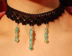Black lace handmade choker necklace black lace by leonorafi