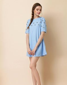 Azure Crewneck Short Sleeve Beaded Mini Dress, Azure, Irina Miro | VIPme