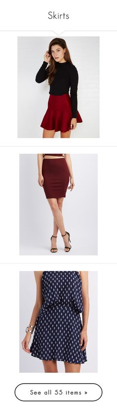 """""""Skirts"""" by maddieg1016 ❤ liked on Polyvore featuring skirts, red, wet seal, red circle skirt, red skater skirt, circle skirts, red knit skirt, knit skater skirt, burgundy and ribbed pencil skirt"""