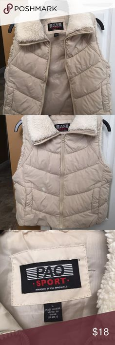 "PAO sport waist length puffer vest faux fur trim A puffer waist length vest. Excellent condition . Shoulders 14""..Chest 36""..Length from shoulders 20"" pao Jackets & Coats Vests"