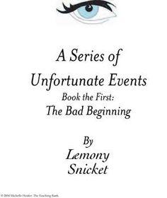 Series of Unfortunate Events: The Bad Beginning Teaching Novel Unit