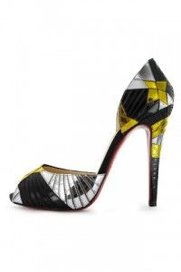 Christian Louboutin Embroidered specchio d'Orsay peep-toe pump.