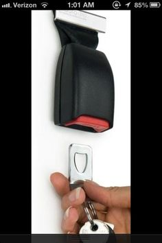 Keep from losing your car keys and use an old seat belt buckle to hang them on.