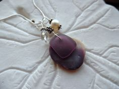 Wampum Sea Glass Necklace Purple Sea Shell by TheMysticMermaid