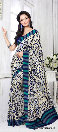Designer Casual Cream Color Crepe Printed Saree at $21.00 visit at http://buyapparel.in/index.php/catalogsearch/result/?q=akira