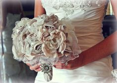 Handmade Rustic Chic  Vintage Fabric Wedding Bouquet http://www.etsy.com/shop/2HAVEn2HOLD